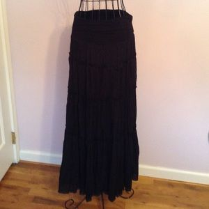 Black ruffled maxi skirt